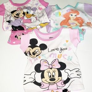 Three Pairs of Disney Girls Pajamas Size 9 Months